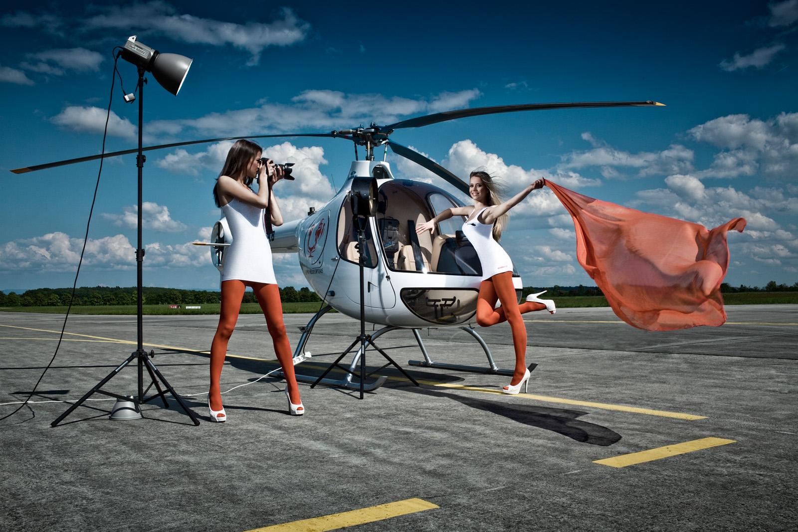 Focení s vrtulníkem na letišti